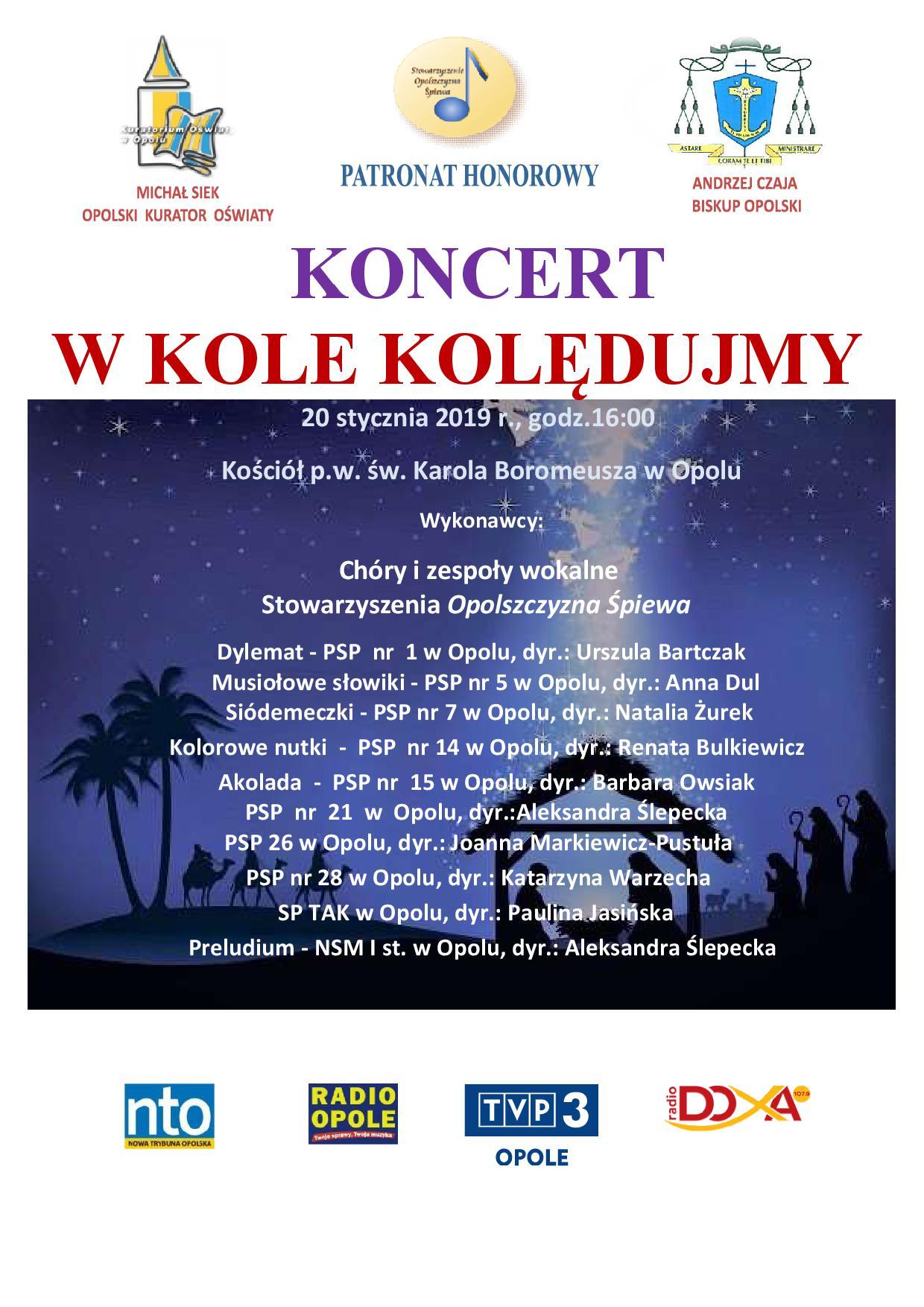 Plakat Konceret kolęd W kole kolędujmy 2019