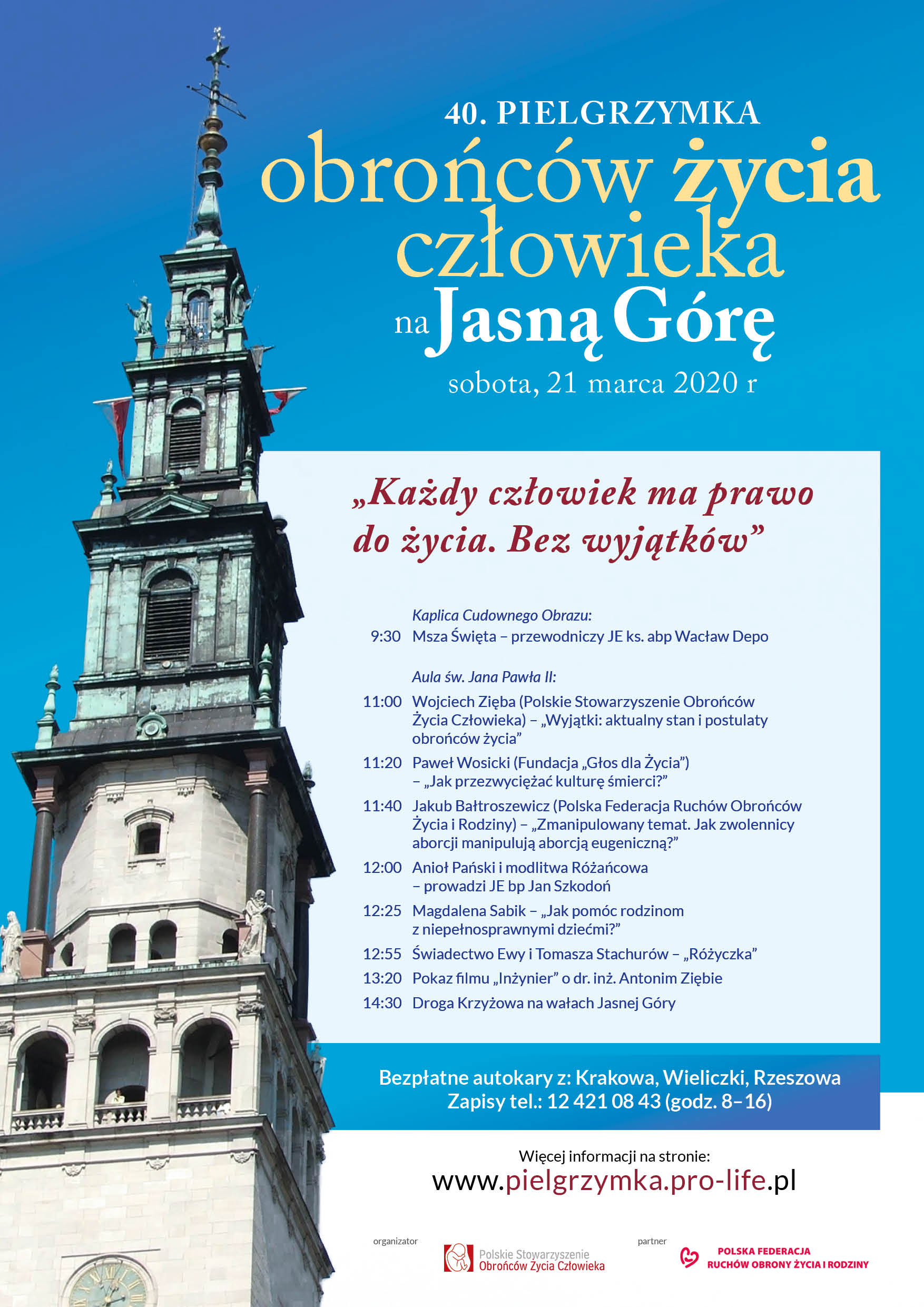 Plakat pielgrzymka obrońców życia człowieka Jasna Góra pro-life 2020_v2
